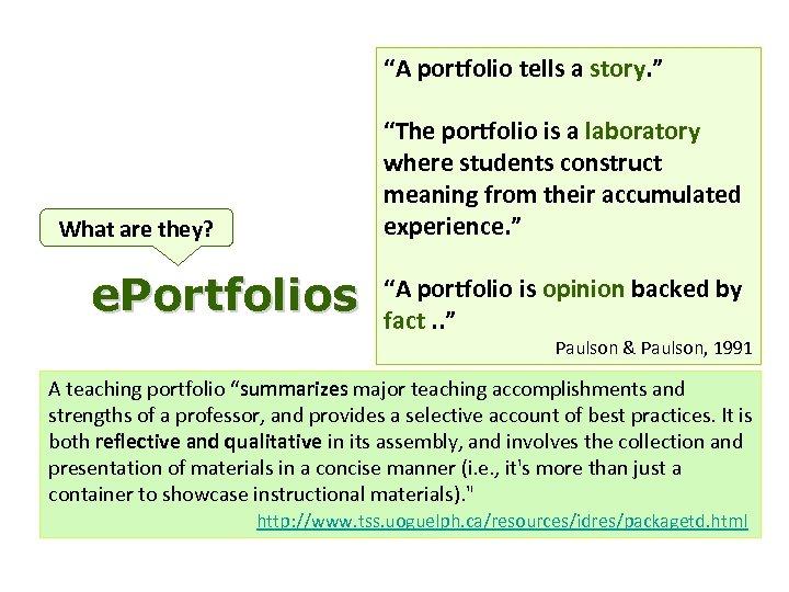 """A portfolio tells a story. "" What are they? e. Portfolios ""The portfolio is"