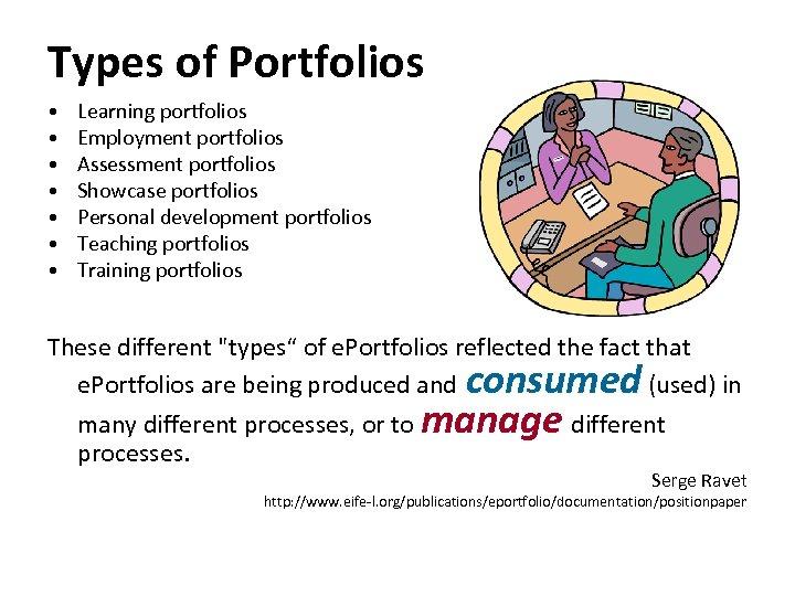 Types of Portfolios • • Learning portfolios Employment portfolios Assessment portfolios Showcase portfolios Personal