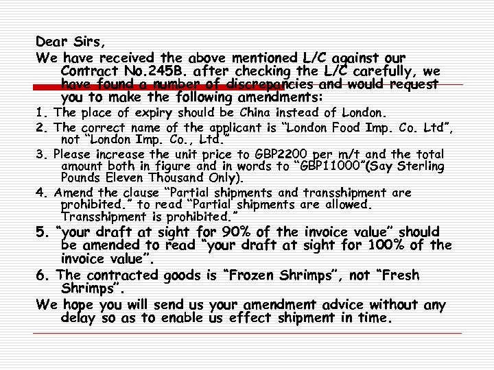 Dear Sirs, We have received the above mentioned L/C against our Contract No. 245