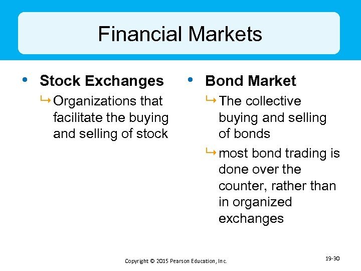 Financial Markets • Stock Exchanges 9 Organizations that facilitate the buying and selling of