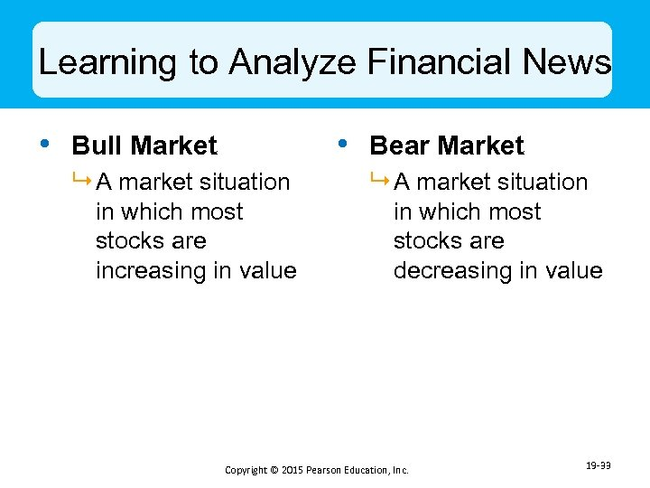 Learning to Analyze Financial News • Bull Market • Bear Market 9 A market