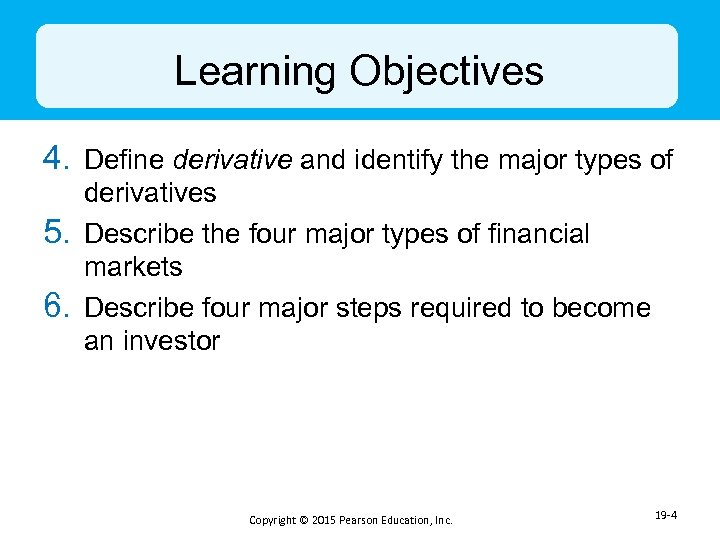 Learning Objectives 4. Define derivative and identify the major types of 5. 6. derivatives