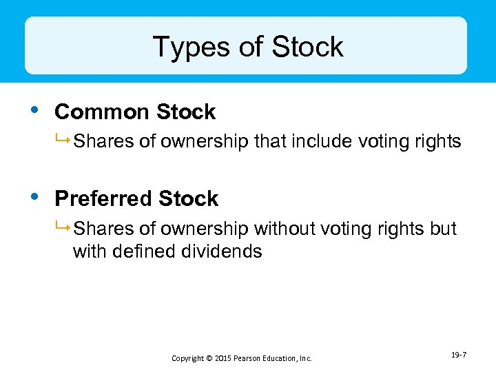 Types of Stock • Common Stock 9 Shares of ownership that include voting rights