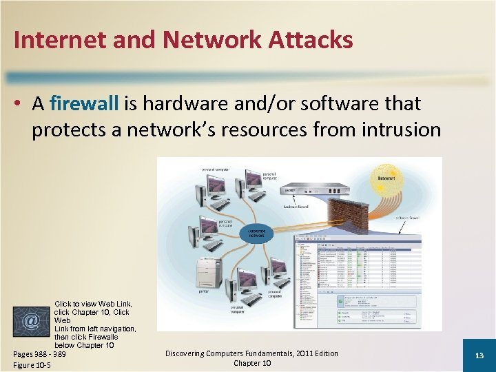 Internet and Network Attacks • A firewall is hardware and/or software that protects a