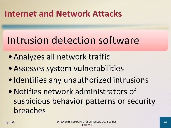 Internet and Network Attacks Intrusion detection software • Analyzes all network traffic • Assesses
