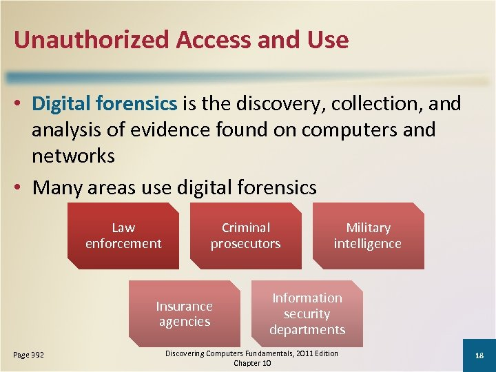 Unauthorized Access and Use • Digital forensics is the discovery, collection, and analysis of