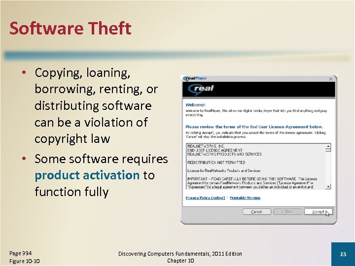 Software Theft • Copying, loaning, borrowing, renting, or distributing software can be a violation