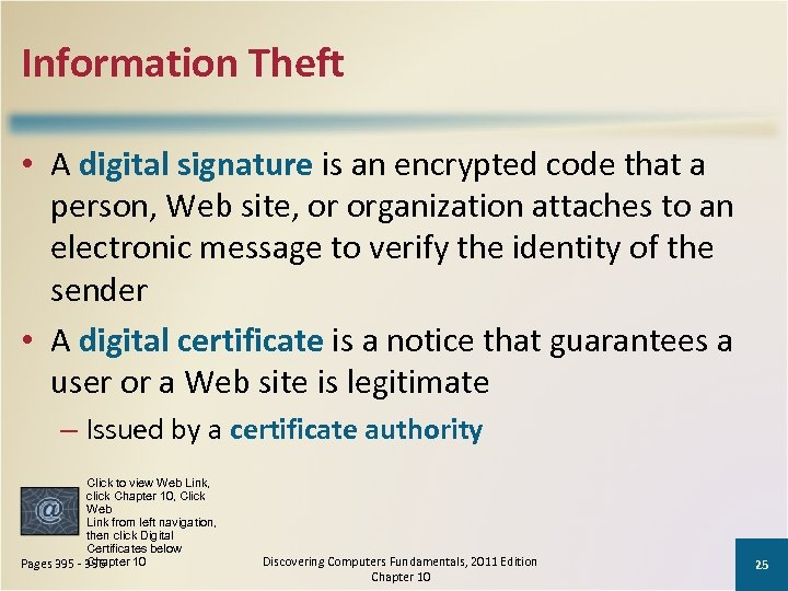 Information Theft • A digital signature is an encrypted code that a person, Web