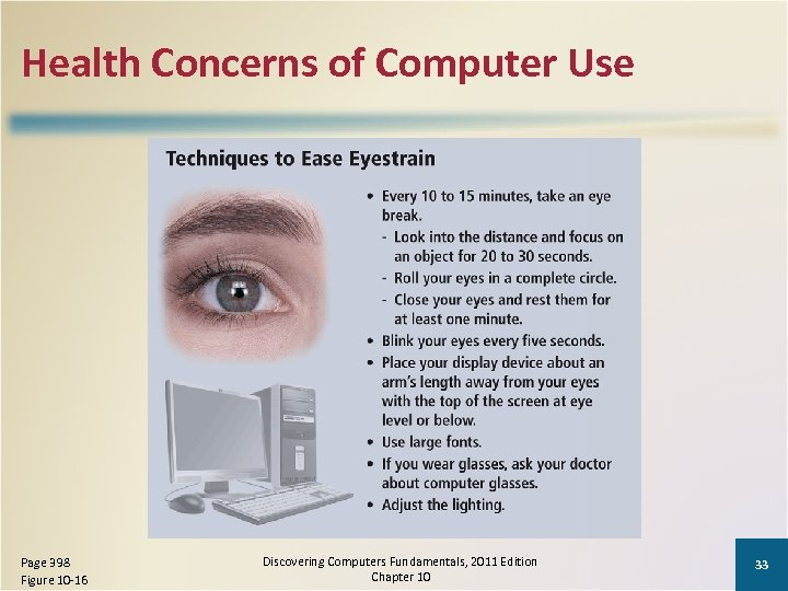 Health Concerns of Computer Use Page 398 Figure 10 -16 Discovering Computers Fundamentals, 2011