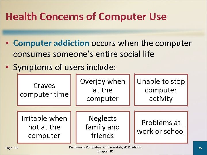 Health Concerns of Computer Use • Computer addiction occurs when the computer consumes someone's