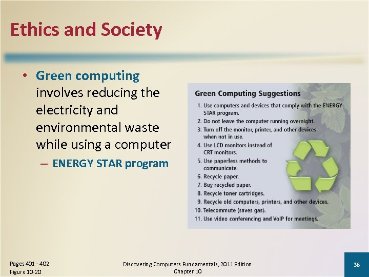 Ethics and Society • Green computing involves reducing the electricity and environmental waste while
