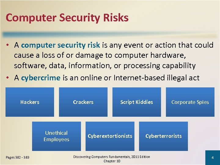 Computer Security Risks • A computer security risk is any event or action that