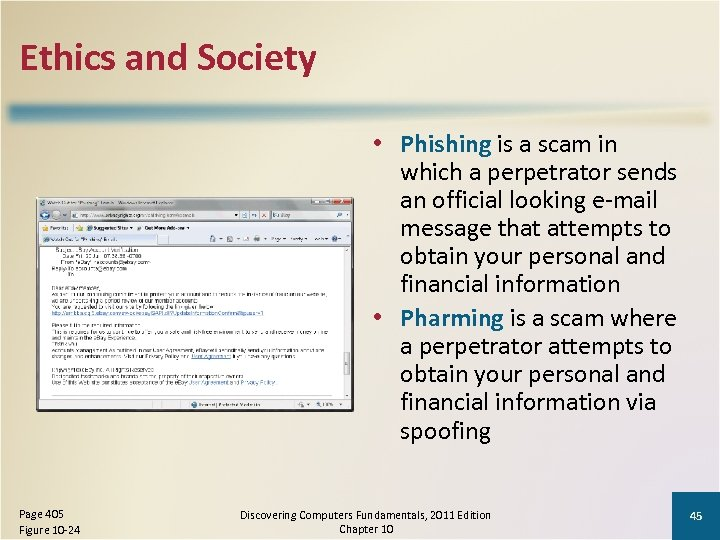 Ethics and Society • Phishing is a scam in which a perpetrator sends an