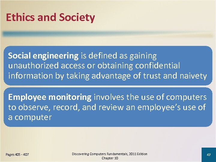 Ethics and Society Social engineering is defined as gaining unauthorized access or obtaining confidential