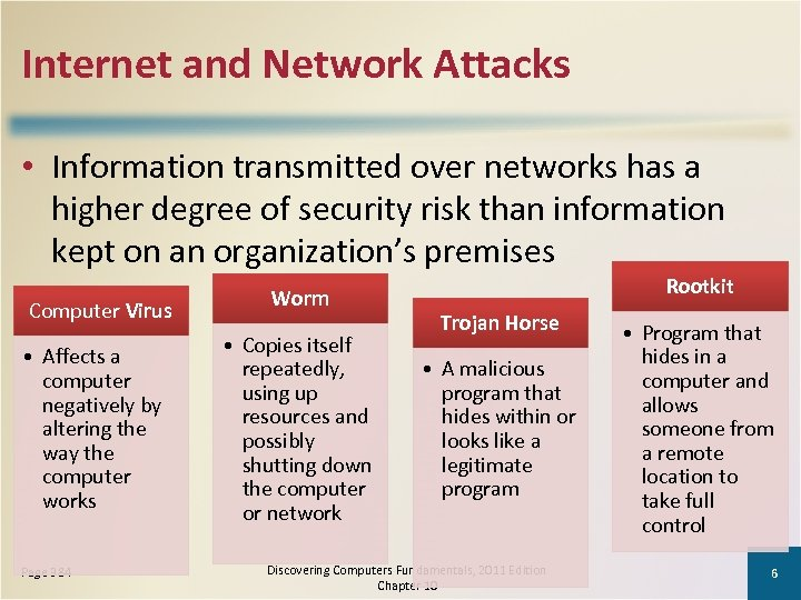 Internet and Network Attacks • Information transmitted over networks has a higher degree of