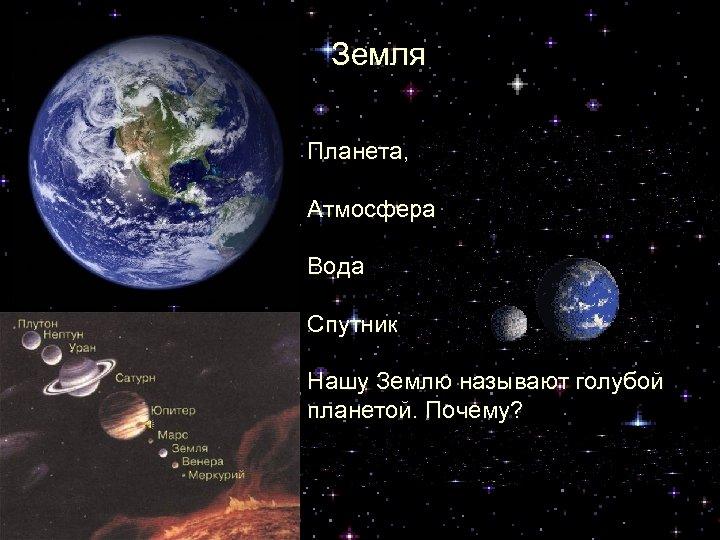 Земля Планета, на которой мы живем Атмосфера есть Вода есть Спутник один – Луна