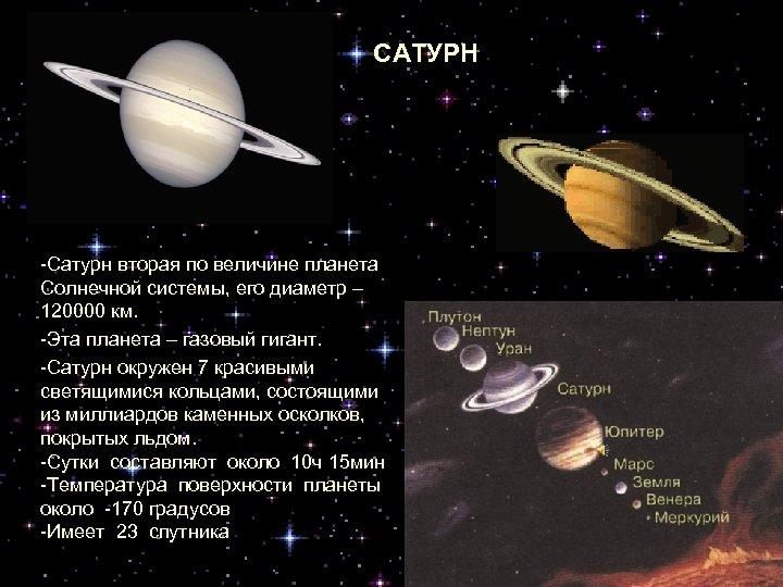 САТУРН -Сатурн вторая по величине планета Солнечной системы, его диаметр – 120000 км. -Эта