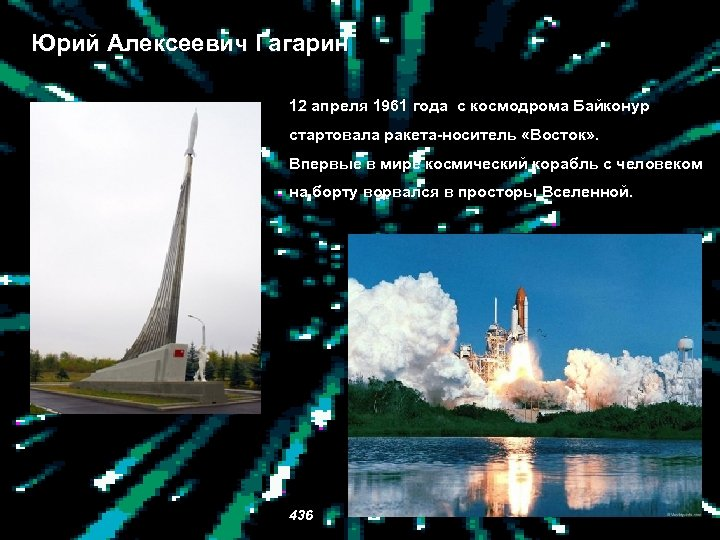 Юрий Алексеевич Гагарин 12 апреля 1961 года с космодрома Байконур стартовала ракета-носитель «Восток» .