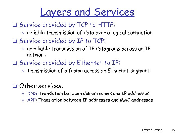 Layers and Services q Service provided by TCP to HTTP: v reliable transmission of