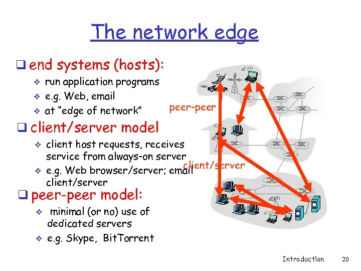 The network edge q end systems (hosts): v v v run application programs e.