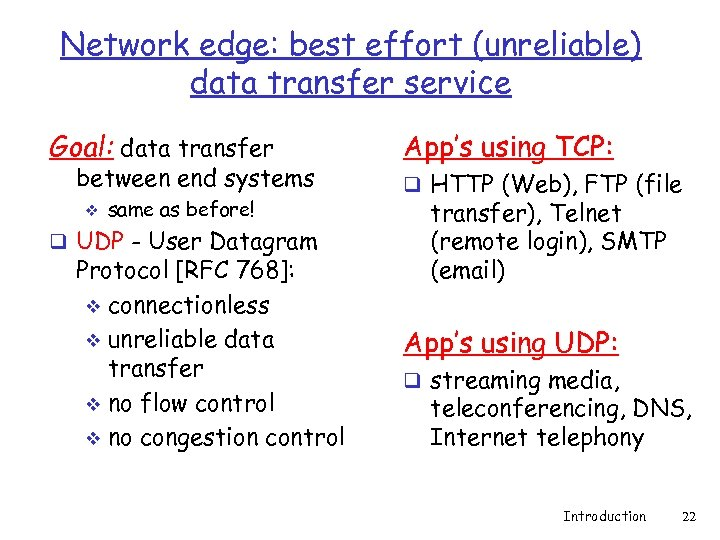Network edge: best effort (unreliable) data transfer service Goal: data transfer between end systems