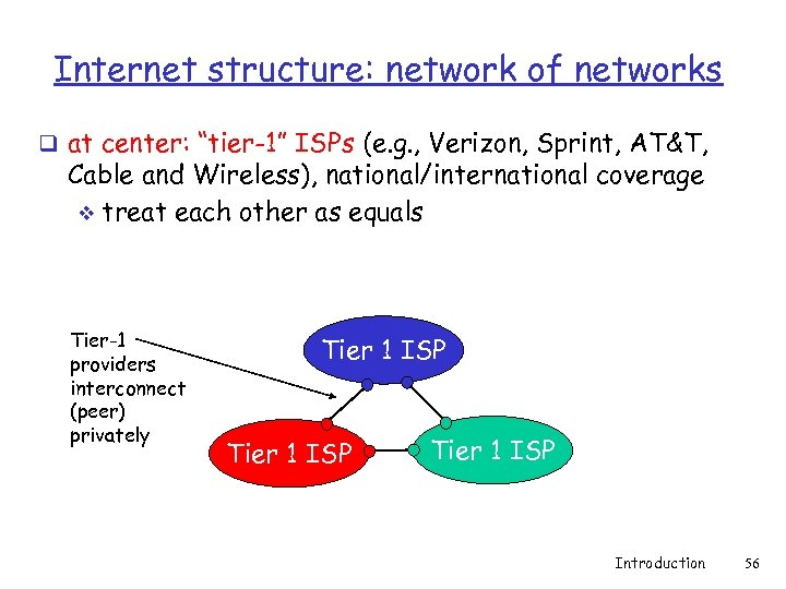 "Internet structure: network of networks q at center: ""tier-1"" ISPs (e. g. , Verizon,"