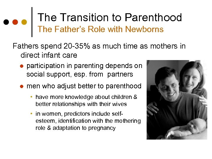 The Transition to Parenthood The Father's Role with Newborns Fathers spend 20 -35% as