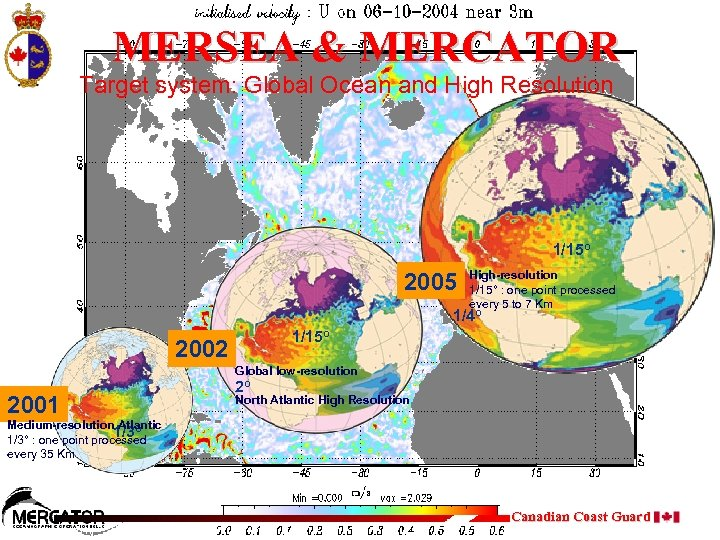 MERSEA & MERCATOR Target system: Global Ocean and High Resolution 1/15 o 2005 High-resolution