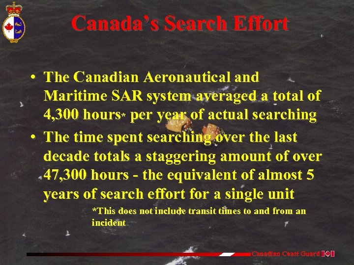 Canada's Search Effort • The Canadian Aeronautical and Maritime SAR system averaged a total