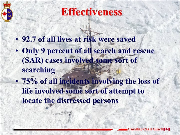 Effectiveness • 92. 7 of all lives at risk were saved • Only 9