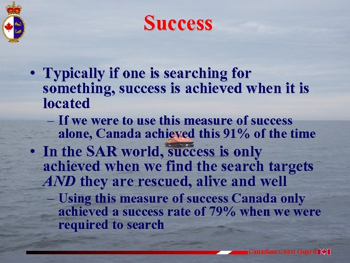 Success • Typically if one is searching for something, success is achieved when it