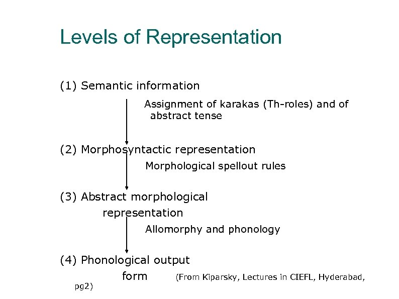 Levels of Representation (1) Semantic information Assignment of karakas (Th-roles) and of abstract tense