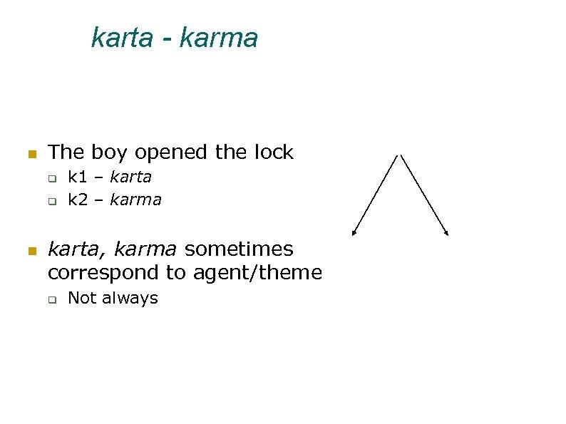 karta - karma The boy opened the lock k 1 – karta k 2