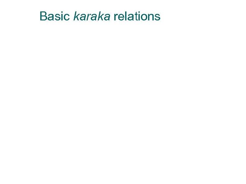 Basic karaka relations