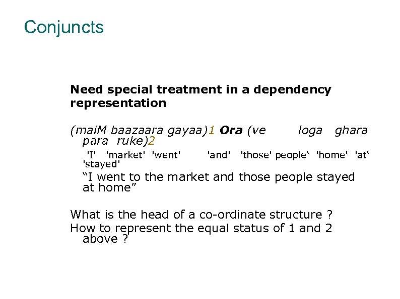 Conjuncts Need special treatment in a dependency representation (mai. M baazaara gayaa)1 Ora (ve