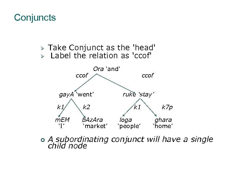 Conjuncts Take Conjunct as the 'head' Label the relation as 'ccof' ccof Ora 'and'