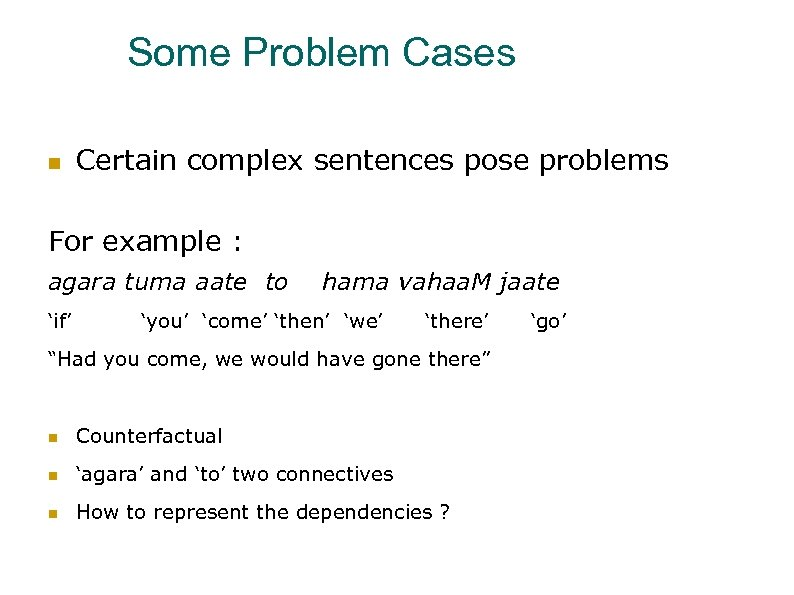 Some Problem Cases Certain complex sentences pose problems For example : agara tuma aate