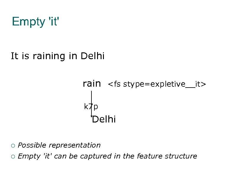 Empty 'it' It is raining in Delhi rain <fs stype=expletive__it> k 7 p Delhi
