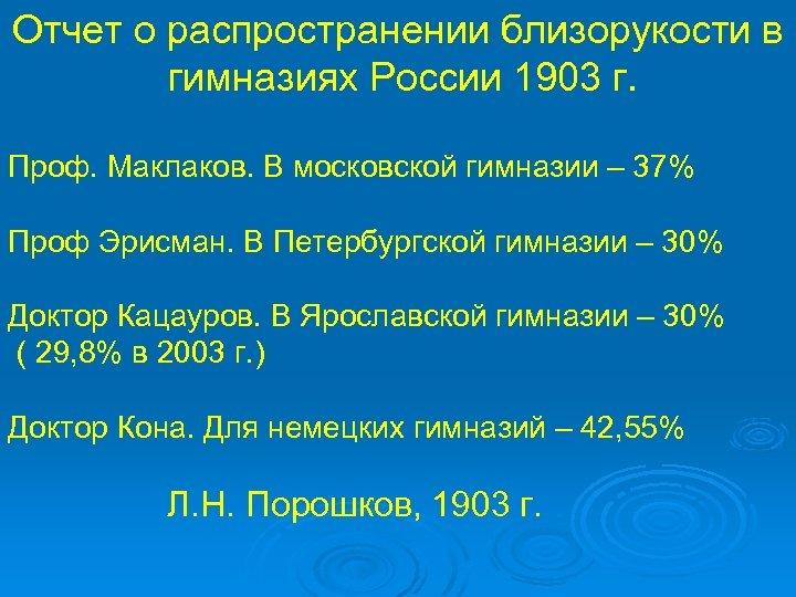 Отчет о распространении близорукости в гимназиях России 1903 г. Проф. Маклаков. В московской гимназии
