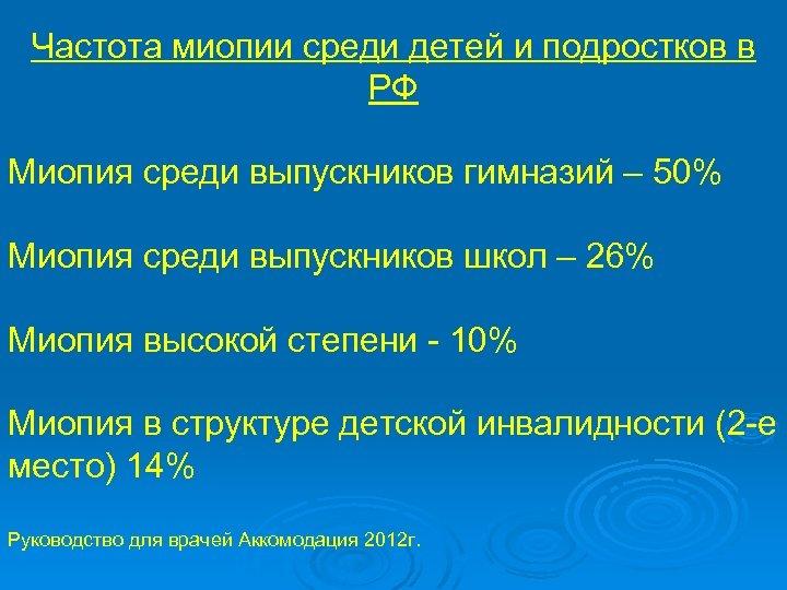 Частота миопии среди детей и подростков в РФ Миопия среди выпускников гимназий – 50%