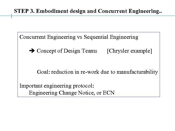 STEP 3. Embodiment design and Concurrent Engineering. . Concurrent Engineering vs Sequential Engineering Concept