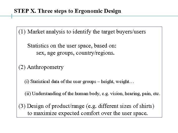 STEP X. Three steps to Ergonomic Design (1) Market analysis to identify the target