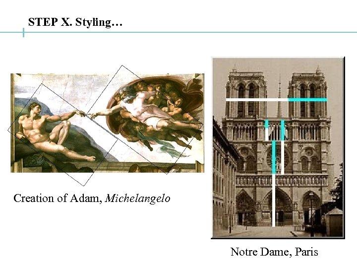 STEP X. Styling… Creation of Adam, Michelangelo Notre Dame, Paris