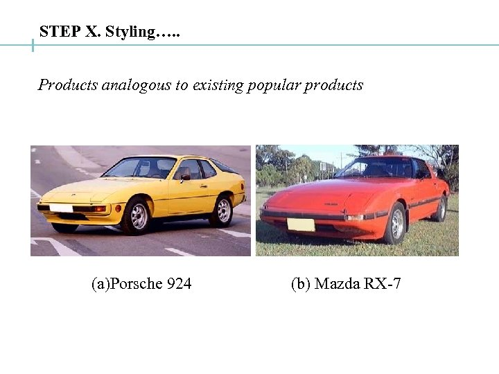 STEP X. Styling…. . Products analogous to existing popular products (a)Porsche 924 (b) Mazda