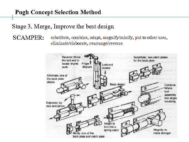 Pugh Concept Selection Method Stage 3. Merge, Improve the best design SCAMPER: substitute, combine,