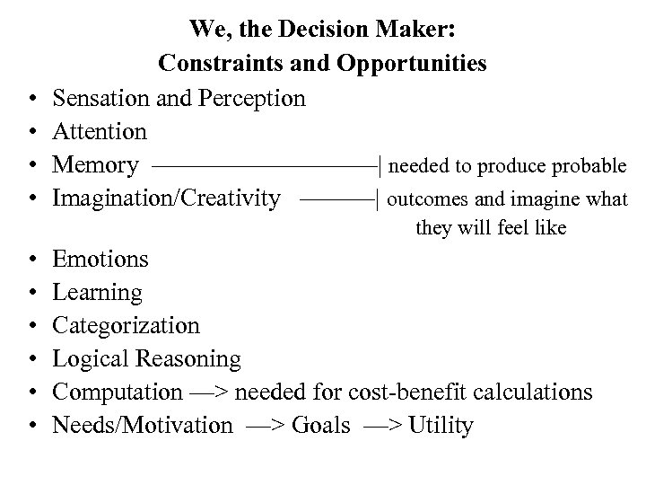 • • We, the Decision Maker: Constraints and Opportunities Sensation and Perception Attention