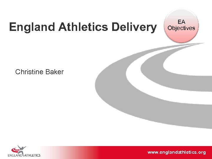 England Athletics Delivery EA Objectives Christine Baker www. englandathletics. org/east