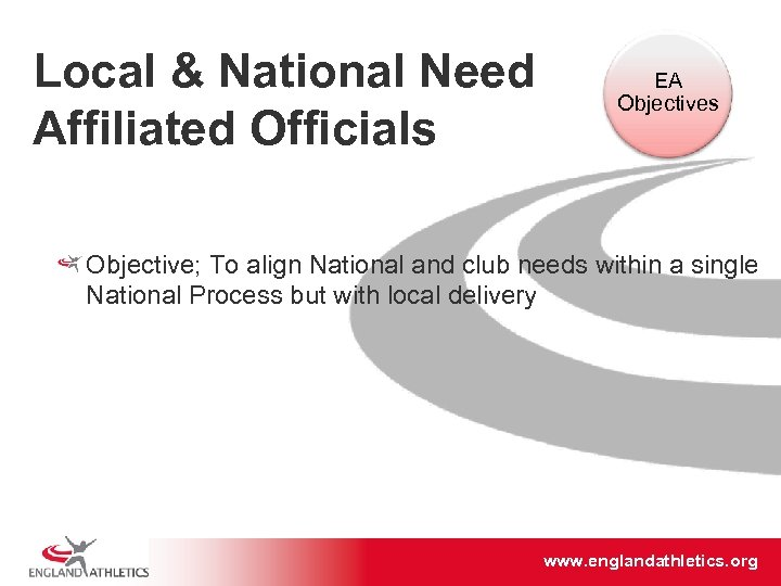 Local & National Need Affiliated Officials EA Objectives Objective; To align National and club