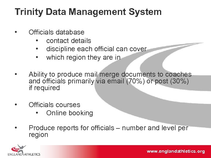 Trinity Data Management System • Officials database • contact details • discipline each official