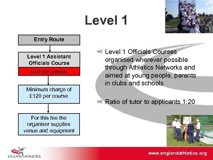 Level 1 Entry Route Level 1 Assistant Officials Course £ 10 person Minimum charge